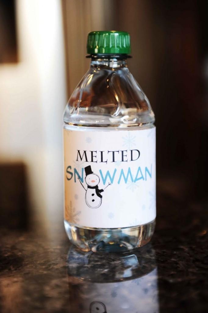 Melted bottle snowman