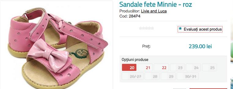 Sandale fete Minnie - roz