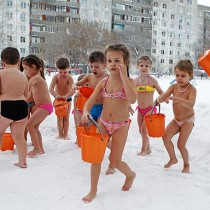 Kids playing in freezing cold