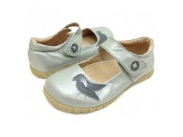 Pantofi fete argintiu Pio Pio din piele naturala