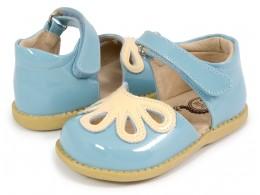 Pantofi fete Petal din piele naturala bleu