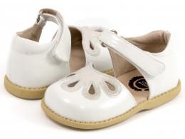 Pantofi fete alb Petal din piele naturala