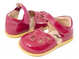 Pantofi fete rosu Petal din piele naturala
