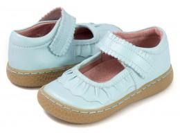 Pantofi fete Ruche din piele naturala bleu