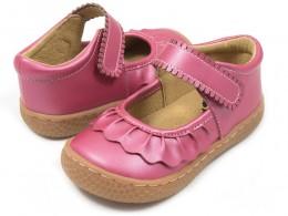 Pantofi fete Ruche din piele naturala roz