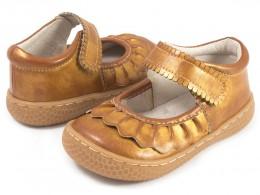 Pantofi fete auriu metalizat Ruche din piele naturala