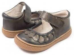Pantofi fete negru Ruche din piele naturala