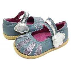 Pantofi fete albastru Dawn din piele naturala