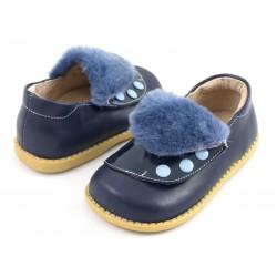 Pantofi fete Quennie din piele naturala bleumarin