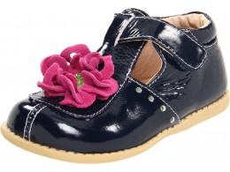 Pantofi fete Blossom din piele naturala bleumarin