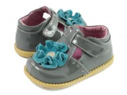 Pantofi fete Blossom din piele naturala gri