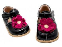Pantofi fete negru Blossom din piele naturala