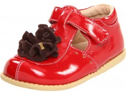 Pantofi fete rosu Blossom din piele naturala