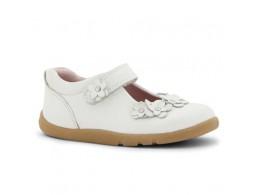 Pantofi fete alb Cherry Blossom din piele naturala