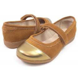 Pantofi fete auriu Harper din piele naturala