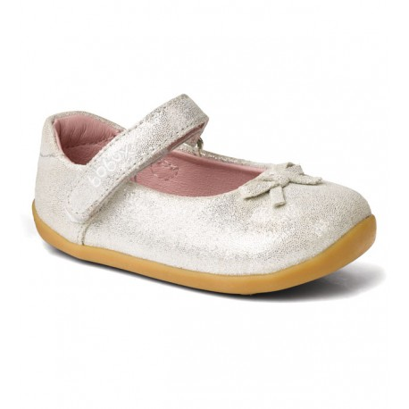 Pantofi fete argintiu Little Ballerina din piele naturala