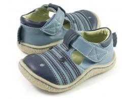 Pantofi baieti albastru Zebra din piele naturala