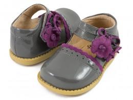 Pantofi fete Blue Bell din piele naturala gri