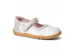 Pantofi fete alb Shine On din piele naturala