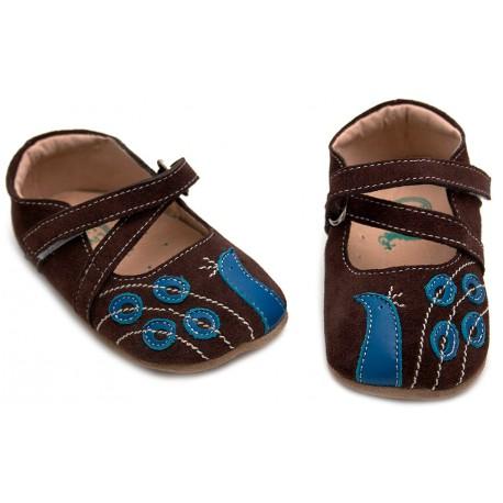 Pantofi bebelusi Paun din piele naturala maron