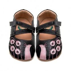 Pantofi bebelusi negru/ roz Paun din piele naturala