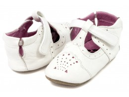 Pantofi bebelusi Cora din piele naturala alba
