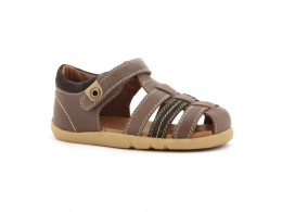 Sandale baieti maron Global din piele naturala