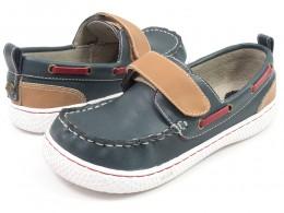 Pantofi baieti North din piele naturala bleumarin
