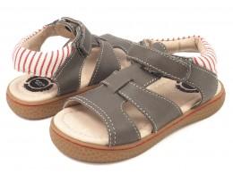 Sandale baieti gri Sailor din piele naturala