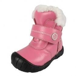 Cizme fete roz Tobias din piele naturala si blana naturala de miel