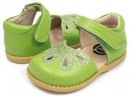 Pantofi fete verde Petal din piele naturala