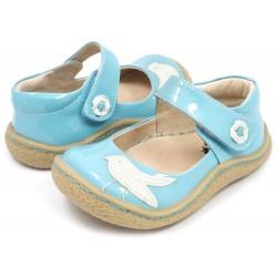 Pantofi fete bleu Pio Pio din piele naturala lacuita
