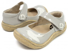 Pantofi fete gri Pio Pio din piele naturala lacuita