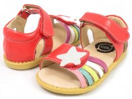Sandale fete rosu Nova din piele naturala