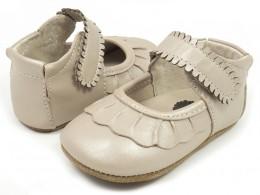 Pantofi bebelusi perla Ruche din piele naturala