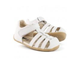 Sandale fete alb Jump din piele naturala