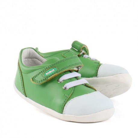 Pantofi copii verde Scribble din piele naturala