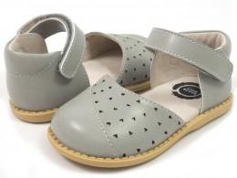 Pantofi fete gri Luna din piele naturala