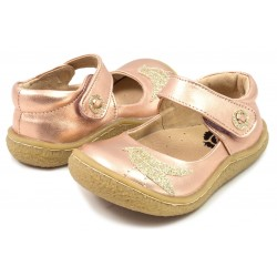 Pantofi fete Pio Pio din piele naturala roz auriu