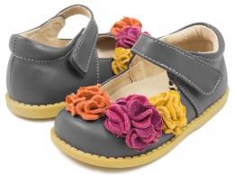 Pantofi fete Dahlia din piele naturala gri