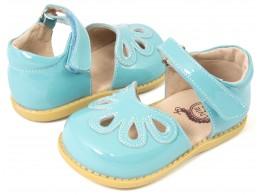 Pantofi fete albastru Petal din piele naturala