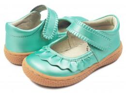 Pantofi fete Ruche din piele naturala verde acqua