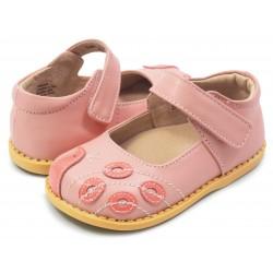 Pantofi fete Paun din piele naturala roz