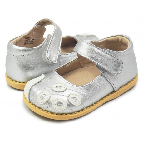 Pantofi fete argintiu Paun din piele naturala