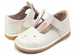 Pantofi fete Molly din piele naturala alb perla