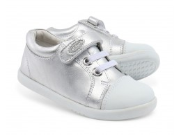 Pantofi fete sport Trouble din piele naturala argintie