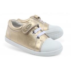 Pantofi fete sport Trouble din piele naturala aurie