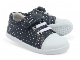 Pantofi copii sport Trouble Spots din piele naturala bleumarin alb