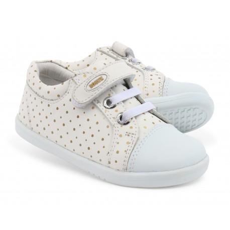 Pantofi fete sport Trouble Spots din piele naturala alb auriu