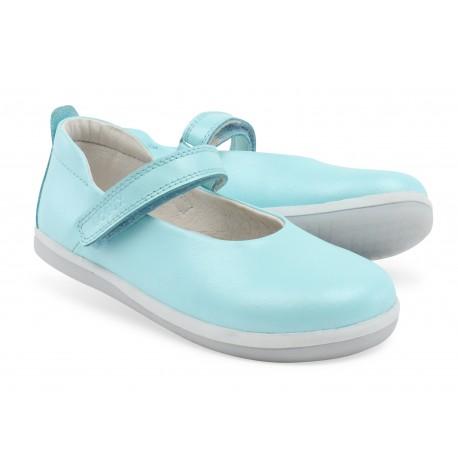 Pantofi fete Swirl din piele naturala bleu aqua